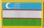 Uzbekistan Embroidered Flag Patch, style 08.